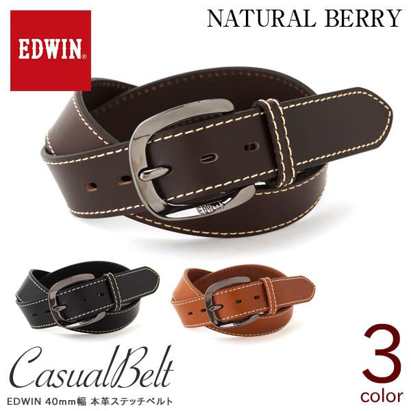 EDWIN エドウィン 40mm幅 本革ステッチベルト メンズ ベルト カジュアル