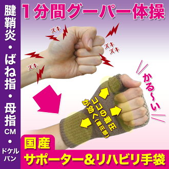 It is wrist palm inflammation of a tendon sheath spring finger mouse inflammation of a tendon sheath finger サポータードケルバン mother and the child CM arthropathy cerebral infarction stroke てぶらくさん an inflammation of a tendon sheath supporter (improved by a suppo