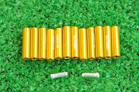 【即納】マイクロヒーロー  MicrOHERO 軽量 アルミ シフトアウターエンドキャップ 12個セット ゴールド ワイヤーエンドキャップ2個付