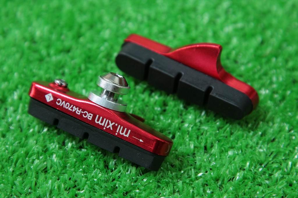 【即納】mi.Xim 軽量 シマノ/スラム互換 ロード用 キャリパーブレーキ用 カートリッジ式 ブレーキパッド ブレーキシュー アルミハウジング レッド