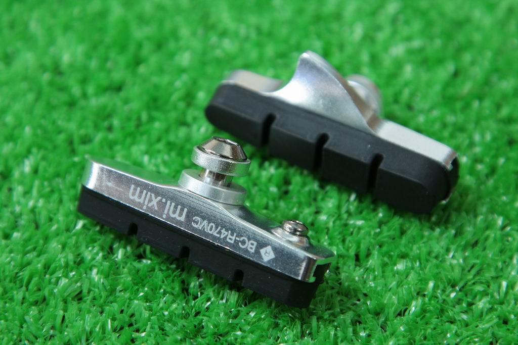 【即納】mi.Xim 軽量 シマノ/スラム互換 ロード用 キャリパーブレーキ用 カートリッジ式 ブレーキパッド ブレーキシュー アルミハウジング シルバー