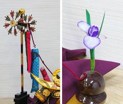 五月人形コンパクトおしゃれぼくの兜木製兜飾り【名前旗付き】