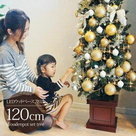 クリスマスツリー 北欧 おしゃれ オーナメント セット ウッドベーススリムツリーセット120cm 木製ポットツリー LED【pot】
