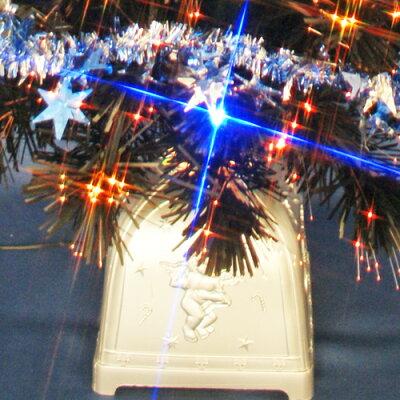 クリスマスツリー120cmブラックファイバーツリーセット12(20球ブルーLED付き)