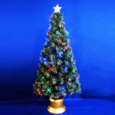 クリスマスツリーグリーンファイバーツリー210cmセット(マルチLED54球付)