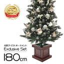 クリスマスツリー 北欧 おしゃれ オーナメント セット LED ウッドベーススリムツリーセット180cm LED 【hk】【pot】