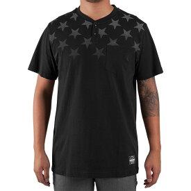FAMOUS STARS & STRAPS(フェイマス)Tシャツ ヘンリーネック LIGHTS OUT T-shirt Black スケボー SKATE SK8 スケートボード HARD CORE PUNK ハードコア パンク HIPHOP ヒップホップ SURF サーフ レゲエ reggae スノボー スノーボード Snowboard NINJA X