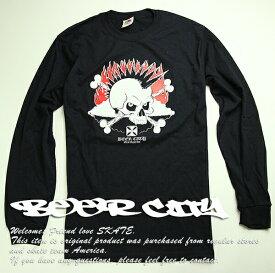 BEER CITY(ビアシティ)SKATEBOARDS/RECORDS ロンT ロングTシャツ 長袖 Flaming Skull long sleeve Black スケボー SKATE SK8 スケートボード HARD CORE PUNK ハードコア パンク HIPHOP ヒップホップ SURF サーフ レゲエ reggae スノボー スノーボード Snowboard NINJA X