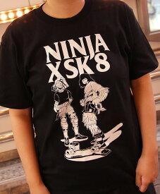 NINJA X Tシャツ ニンジャエックス Original SK8 two men スケボー SKATE SK8 スケートボード HARD CORE PUNK ハードコア パンク HIPHOP ヒップホップ SURF サーフ レゲエ reggae スノボー スノーボード Snowboard NINJA X