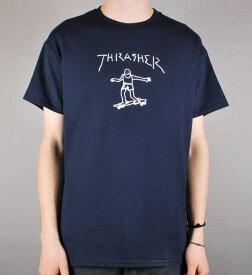 Thrasher Magazine Tシャツ スラッシャー マークゴンザレス Gonz T-Shirt Mark Gonzales Navy スケボー SKATE SK8 スケートボード HARD CORE PUNK ハードコア パンク HIPHOP ヒップホップ SURF サーフ スノボー スノーボード Snowboard NINJA X