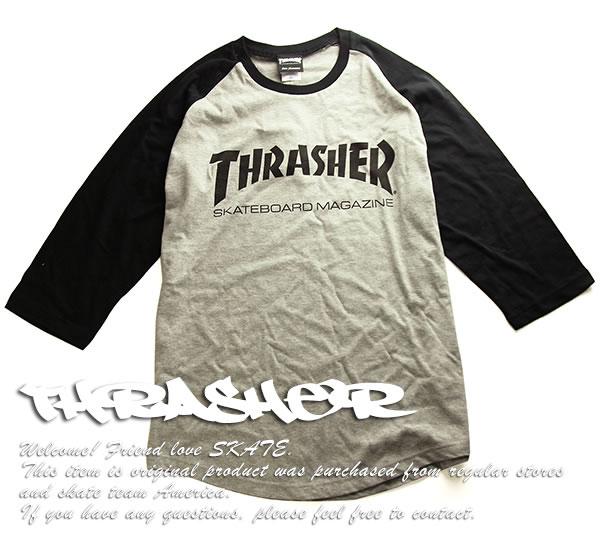 Thrasher Magazine ラグランTシャツ 七分袖 スラッシャー Mag Logo Raglan 3/4 T-shirt Grey/Black スケボー SK8 スケートボード HARD CORE PUNK ハードコア パンク HIPHOP ヒップホップ SURF サーフ スノボー スノーボード Snowboard NINJA X