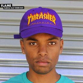 Thrasher Magazine ベースボールキャップ ダッドハット 帽子 ワンポイント スラッシャー マガジン Flame Old Timer Hat Dad-Hat Purple スケボー SKATE SK8 スケートボード HARD CORE PUNK ハードコア パンク HIPHOP ヒップホップ SURF サーフ レゲエ reggae スノボー