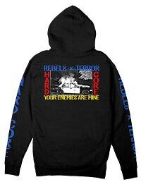 REBEL8 x Terror(レベルエイト/テラー)Zipパーカー フード スウェット Enemies Zip Hoodie Black コラボ US HARD CORE ハードコア スケボー SKATE SK8 スケートボード PUNK パンク HIPHOP ヒップホップ SURF サーフ レゲエ reggae スノボー スノーボード Snowboard NINJA X
