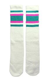 SkaterSocks ロングソックス 靴下 男女兼用 ソックス スケボー チューブソックス Knee high White tube socks with Teal-Hot Pink stripes style 4(22Inch/22インチ)SKATE SK8 HARD CORE PUNK ハードコア パンク HIPHOP ヒップホップ SURF レゲエ reggae スノボー
