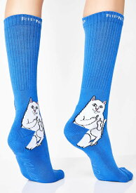 RIPNDIP(リップンディップ)ソックス 靴下 Lord Nermal Socks Blue 猫 ネコ スケボー SKATE SK8 スケートボード HARD CORE PUNK ハードコア パンク HIPHOP ヒップホップ SURF サーフ レゲエ reggae スノボー スノーボード Snowboard NINJA X