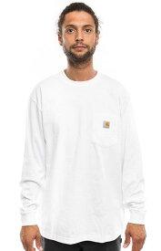 CARHARTT (カーハート) US企画 ロンT ロングTシャツ 長袖 Workwear Long-Sleeve Pocket T-Shirt White ポケット付き 無地 スケボー SKATE SK8 スケートボード HARD CORE PUNK ハードコア パンク HIPHOP ヒップホップ SURF サーフ レゲエ reggae スノボー スノーボード