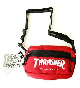 Thrasher Magazine(スラッシャー)小物バッグ ポーチ ミニショルダー Mini Shoulder Bag Red×White スケボー SK8 スケートボード HARD CORE PUNK ハードコア パンク HIPHOP ヒップホップ SURF サーフ スノボー スノ