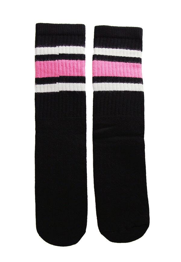 SkaterSocks キッズ 子供 ロングソックス 靴下 ソックス スケート スケボー チューブソックス Kids Black tube socks with White-BubbleGum Pink stripes style 3(14インチ)14 Inch Kids Striped Tube Socks SKATE SK8 PUNK パンク HIPHOP ヒップホップ サーフ レゲエ