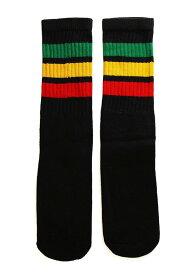 SkaterSocks キッズ 子供 ロングソックス 靴下 ソックス スケート スケボー チューブソックス Kids Black tube socks with Green-Gold-Red stripes style 1(14インチ)14 Inch Kids Striped Tube Socks SKATE SK8 PUNK パンク HIPHOP ヒップホップ サーフ レゲエ