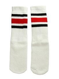 SkaterSocks キッズ 子供 ロングソックス 靴下 ソックス スケート スケボー チューブソックス Kids White tube socks with Black-Red stripes style 3(14インチ)14 Inch Kids Striped Tube Socks SKATE SK8 PUNK パンク HIPHOP ヒップホップ サーフ レゲエ