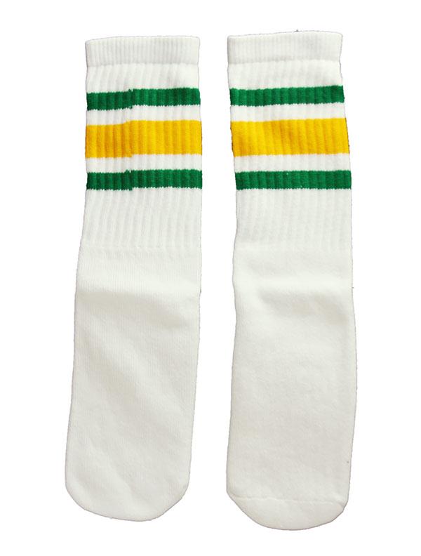 SkaterSocks キッズ 子供 ロングソックス 靴下 ソックス スケート スケボー チューブソックス Kids White tube socks with Green-Gold stripes style 3(14インチ)14 Inch Kids Striped Tube Socks SKATE SK8 PUNK パンク HIPHOP ヒップホップ サーフ レゲエ