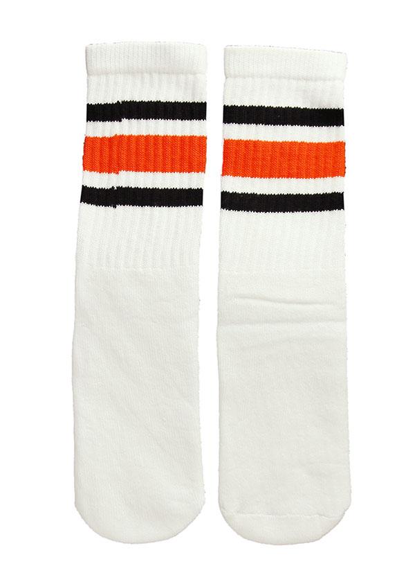 SkaterSocks キッズ 子供 ロングソックス 靴下 ソックス スケート スケボー チューブソックス Kids White tube socks with Black-Orange stripes style 3(14インチ)14 Inch Kids Striped Tube Socks SKATE SK8 PUNK パンク HIPHOP ヒップホップ サーフ レゲエ