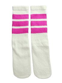 SkaterSocks キッズ 子供 ロングソックス 靴下 ソックス スケート スケボー チューブソックス Kids White tube socks with Hot Pink stripes style 1(14インチ)14 Inch Kids Striped Tube Socks SKATE SK8 PUNK パンク HIPHOP ヒップホップ サーフ レゲエ