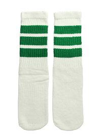SkaterSocks キッズ 子供 ロングソックス 靴下 ソックス スケート スケボー チューブソックス Kids White tube socks with Green stripes style 1(14インチ)14 Inch Kids Striped Tube Socks SKATE SK8 PUNK パンク HIPHOP ヒップホップ サーフ レゲエ