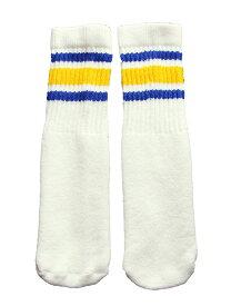SkaterSocks ベビー キッズ 赤ちゃん 子供 ロングソックス 靴下 ソックス スケート スケボー チューブソックス Kids White tube socks with Royal Blue-Gold stripes style 3(10インチ)10 Inch BABY-KIDS Striped SKATE SK8 PUNK パンク HIPHOP ヒップホップ サーフ レゲエ