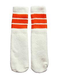 SkaterSocks ベビー キッズ 赤ちゃん 子供 ロングソックス 靴下 ソックス スケート スケボー チューブソックス Kids White tube socks with Orange stripes style 1(10インチ)10 Inch BABY-KIDS Striped SKATE SK8 PUNK パンク HIPHOP ヒップホップ サーフ レゲエ