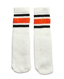 SkaterSocks ベビー キッズ 赤ちゃん 子供 ロングソックス 靴下 ソックス スケート スケボー チューブソックス Kids White tube socks with Black-Orange stripes style 3(10インチ)10 Inch BABY-KIDS Striped SKATE SK8 PUNK パンク HIPHOP ヒップホップ サーフ レゲエ