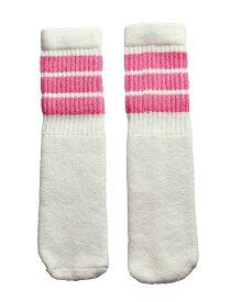 SkaterSocks ベビー キッズ 赤ちゃん 子供 ロングソックス 靴下 ソックス スケート スケボー チューブソックス Kids White tube socks with BubbleGum Pink stripes style 1(10インチ)10 Inch BABY-KIDS Striped SKATE SK8 PUNK パンク HIPHOP ヒップホップ サーフ レゲエ