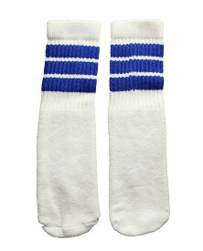SkaterSocks ベビー キッズ 赤ちゃん 子供 ロングソックス 靴下 ソックス スケート スケボー チューブソックス Kids White tube socks with Royal Blue stripes style 1(10インチ)10 Inch BABY-KIDS Striped SKATE SK8 PUNK パンク HIPHOP ヒップホップ サーフ レゲエ