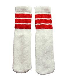 SkaterSocks ベビー キッズ 赤ちゃん 子供 ロングソックス 靴下 ソックス スケート スケボー チューブソックス Kids White tube socks with Red stripes style 1(10インチ)10 Inch BABY-KIDS Striped SKATE SK8 PUNK パンク HIPHOP ヒップホップ サーフ レゲエ