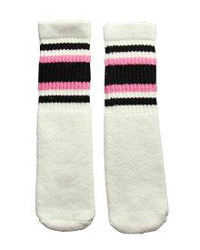SkaterSocks ベビー キッズ 赤ちゃん 子供 ロングソックス 靴下 ソックス スケート スケボー チューブソックス Kids White tube socks with Black-Bubblegum Pink stripes style 4(10インチ)10 Inch BABY-KIDS Striped SKATE SK8 PUNK パンク HIPHOP ヒップホップ サーフ