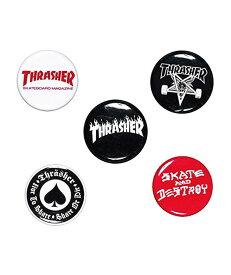THRASHER(US企画)ピンバッジ 5種ワンセット スラッシャー Logo Buttons スケボー SKATE SK8 スケートボード HARD CORE PUNK ハードコア パンク HIPHOP ヒップホップ SURF サーフ レゲエ reggae スノボー スノーボード Snowboard NINJA X