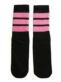 SkaterSocks キッズ 子供 ロングソックス 靴下 ソックス スケート スケボー チューブソックス Kids Black tube socks with BubbleGum Pink stripes style 1(14インチ)14 Inch Kids Striped Tube Socks SKATE SK8 PUNK パンク HIPHOP ヒップホップ サーフ レゲエ