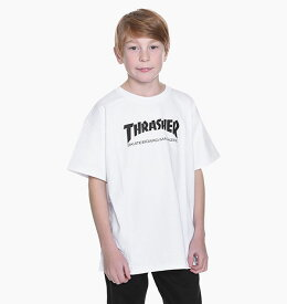 Thrasher Magazine(US企画)スラッシャー 子供 キッズ Tシャツ ユース Youth Skate Mag T-shirt kids White スケボー SKATE SK8 スケートボード HARD CORE PUNK ハードコア パンク HIPHOP ヒップホップ SURF サーフ スノボー スノーボード Snowboard NINJA X