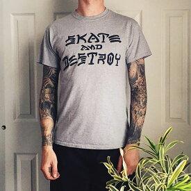 Thrasher Magazine(US企画)Tシャツ スラッシャー Skate And Destroy T-Shirt Grey スケボー SKATE SK8 スケートボード HARD CORE PUNK ハードコア パンク HIPHOP ヒップホップ SURF サーフ スノボー スノーボード Snowboard NINJA X