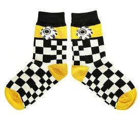 MISHKA 上海(ミシカ)レディース ソックス 靴下 Socks Yellow×White×Black スケボー SKATE SK8 スケートボード HARD CORE PUNK ハードコア パンク HIPHOP ヒップホップ SURF サーフ レゲエ reggae スノボー スノーボード Snowboard NINJA X