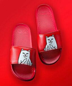 RIPNDIP(リップンディップ)サンダル スリッパ ネコ 猫 Lord Nermal Slide Sandals Red スケボー SKATE SK8 スケートボード HARD CORE PUNK ハードコア パンク HIPHOP ヒップホップ SURF サーフ レゲエ reggae スノボー