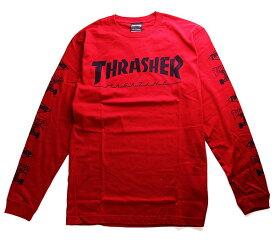 Thrasher Magazine(スラッシャー マガジン)ロンT ロングTシャツ 長袖 Mag Multi-E Longsleeve T-Shirt Red スケボー SKATE SK8 スケートボード HARD CORE PUNK ハードコア パンク HIPHOP ヒップホップ SURF サーフ レゲエ reggae スノボー スノーボード Snowboard