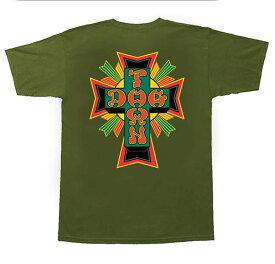 Dogtown Skateboards(ドッグタウン)Tシャツ T-Shirt Cross Logo Olive×Rasta スケボー SKATE SK8 スケートボード HARD CORE PUNK ハードコア パンク HIPHOP ヒップホップ SURF サーフ レゲエ reggae スノボー スノーボード Snowboard NINJA X