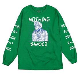 DGK(ディージーケー)ロンT ロングTシャツ 長袖 Nothing Sweet Long Sleeve T-Shirt Kelly Green スケボー SKATE SK8 スケートボード HARD CORE PUNK ハードコア パンク HIPHOP ヒップホップ レゲエ reggae スノボー スノーボード Snowboard