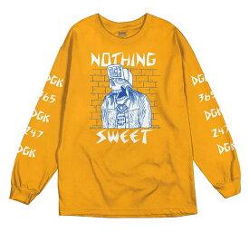 DGK(ディージーケー)ロンT ロングTシャツ 長袖 Nothing Sweet Long Sleeve T-Shirt Gold スケボー SKATE SK8 スケートボード HARD CORE PUNK ハードコア パンク HIPHOP ヒップホップ レゲエ reggae スノボー スノーボード Snowboard