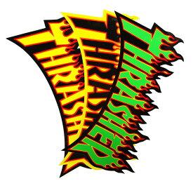 THRASHER MAGZINE(スラッシャー)大判 ステッカー シール Flame Large Sticker(Green/Yellow/Black)スケボー SKATE SK8 スケートボード HARD CORE PUNK ハードコア パンク HIPHOP ヒップホップ SURF サーフ レゲエ reggae スノボー スノーボード Snowboard NINJA X