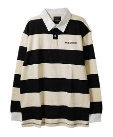 40s & Shorties(フォーティーズアンドショーティーズ)ラガーシャツ 長袖 Regulation Rugby Shirt Black/White(ボーダー柄)スケボー SKATE SK8 スケートボード HARD CORE PUNK パンク HIPHOP ヒップホップ SURF サーフ レゲエ reggae スノボー スノーボード