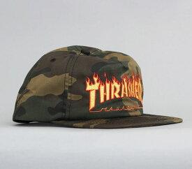 Thrasher(スラッシャー)キャップ スナップバックハット 帽子 Flame Logo Snapback Camo(迷彩)(US企画)スケボー SKATE SK8 スケートボード HARD CORE PUNK ハードコア パンク HIPHOP ヒップホップ レゲエ reggae スノボー スノーボード Snowboard NINJA X