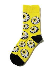 MISHKA上海(ミシカ)ソックス 靴下 KEEP WATCH ALLOVER Socks Yellow スケボー SKATE SK8 スケートボード HARD CORE PUNK ハードコア パンク HIPHOP ヒップホップ SURF サーフ レゲエ reggae スノボー スノーボード Snowboard NINJA X