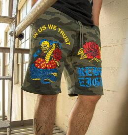 REBEL8(レベルエイト)ショーツ ショートパンツ スウェットパンツ In Us We Trust Camo Shorts 迷彩 メンズ カジュアル ストリート スケボー SKATE SK8 スケートボード HARD CORE PUNK ハードコア パンク HIPHOP ヒップホップ SURF サーフ レゲエ reggae